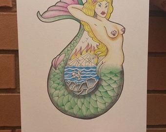 The Mermaid A4 Print