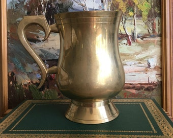 Vintage Brass Mug Tankard Vase Pencil Holder