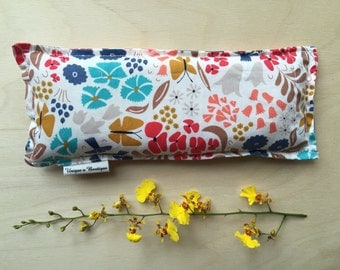 Flower Print, Eye Mask, 100% Cotton, Rice Filled