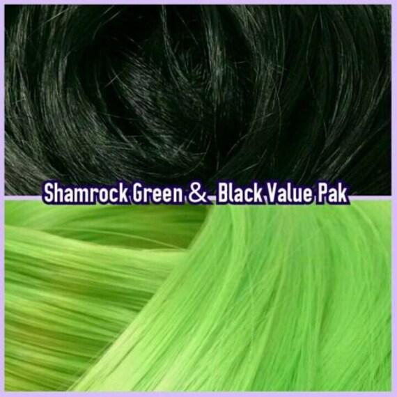 Black & Shamrock Green XL 4oz 2 Color Value Pak Nylon Doll Hair Hanks Rerooting Monster High Ever After Barbie My Little Pony Crissy Sindy