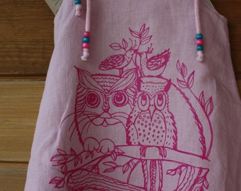 Pink owl dress, 5 year old birthday outfit linen tunic , A-line dress, owl print girl dress, infant party dress, casual dress for girl