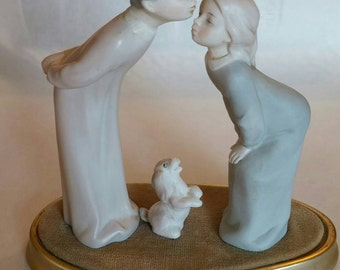 Ardalt Lenwille Hand painted boy and girl kissing with dog