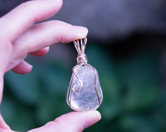 Clear Quartz handmade wire wrapped pendant