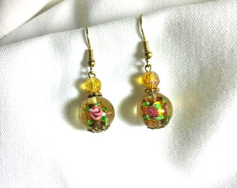 Vintage Glass Earrings with Roses  inside Bead