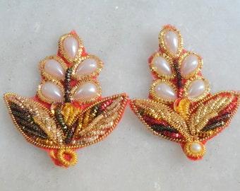 Golden Embroidery White Moti Tradiotional Indian Applique Ethnic Bridal Dress Patch Work Sew Sari Applique  4  pcs  RIA192