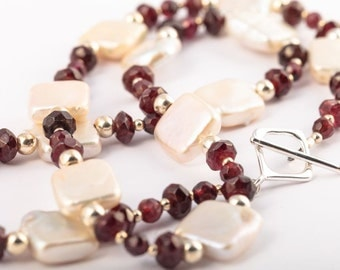 Garnet Pearl and Sterling Silver Necklace