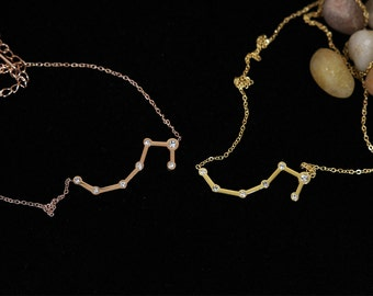 Rose Gold and Gold Constellation Necklace Simple Jewelry