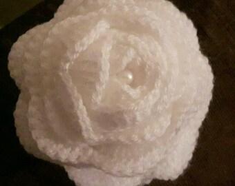 Crochet hair clip fascinator flower