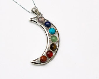 Moon Chakra Pendant - Sterling Silver Necklace
