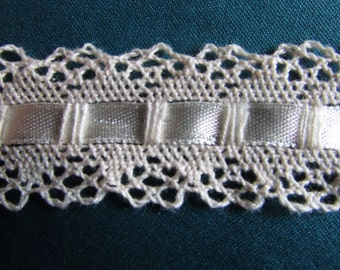 BTY ECRU Cotton Lace with Satin Ribbon One and One Quarter inches wide  015