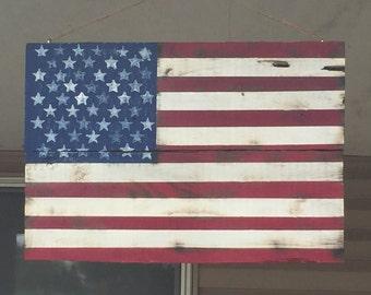 Reclaimed Barn Wood, American Flag, Rustic, Charred Wood