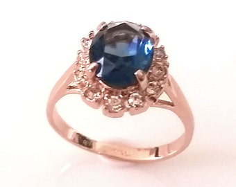 1 Sapphire CZ 18 ct gold plated ring 19, 1mm (60)