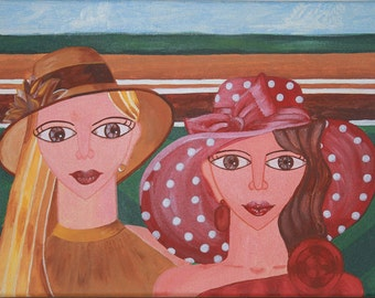 Acrylic Painting on canvas 'Derby Hats': two beautiful women & their hats at the Derby