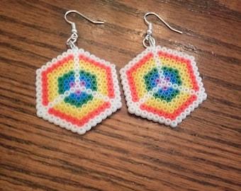 Rainbow Peace Perler Bead Dangle Earrings