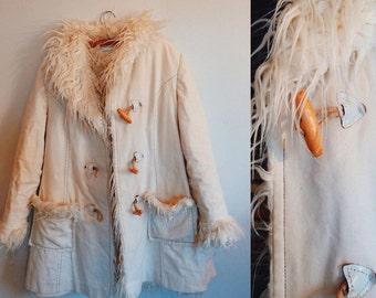 Faux fur lined white coat, gypsy, Festive