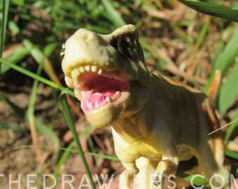 Yellow T-Rex Dinosaur Photo Art Print