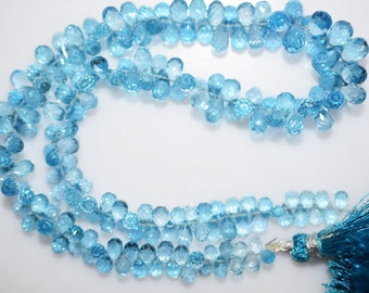"1 Strand Swiss Blue Topaz Faceted Tear Drop Beads-Swiss Blue Topaz Tear Drop Briolette, 4x3 - 7x5 mm, 13.5"", BL372"