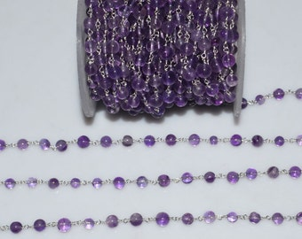 Beautiful Natural Amethyst Plain Smooth Wire Rosary Beaded Chain-Amethyst Plain Smooth Round Chain , 4.50-5.50 mm - RB5262