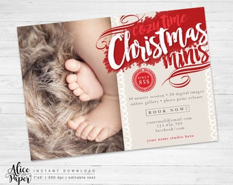 Christmas mini session template, Holiday Mini Session Template, Photoshop PSD, Christmas Photography Marketing, Cozy time, instant download