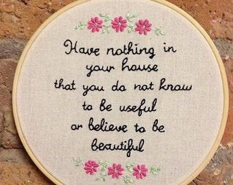 Hand embroidered William Morris quote