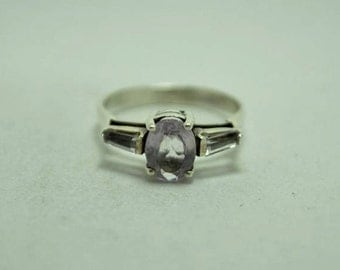 T21F06 Vintage Art Deco Style Large Blue Oval Stone 925 Sterling Silver Ring Sz 7