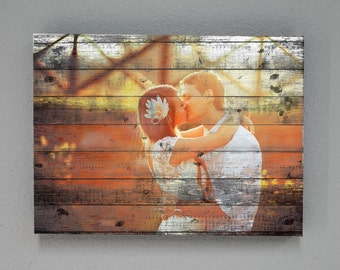 """Custom Canvas Prints with Wood effect, Photo 1.5"""" thick Gallery Wrap . wedding,couple,family photo"""