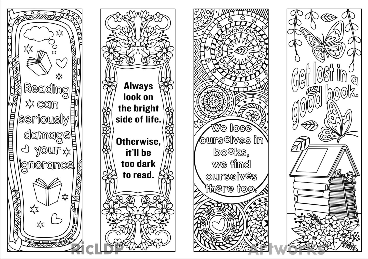 Printable Coloring Bookmark Templates