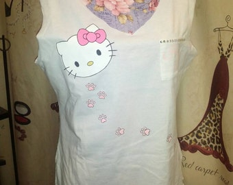 Hello Kitty Tank With Bow Tie Back Size M
