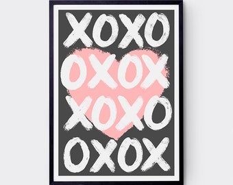 XO My Heart Art Print / Various Colours / Love / Hugs & Kisses / Typography / Poster / Giclee Print