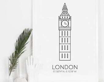 London Print, Cityscape, Big Ben, Wall Prints, London Photography, Trending Now, Home Art, Black and White, Digital Download, Europe Art