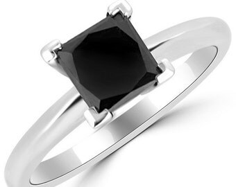 Huge 2.50 carat natural black diamond princess brilliant cut  solitaire engagement ring in 14k white gold online sale buy