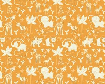 SALE Cotton fabric. Lewis and Irene, Safari Park, Jungle animals, zebras, elephants, monkeys, giraffes, tigers, orange, white.