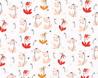 Organic cotton fabric. Foxglove, cowslip. Quilters weight. Cloud9 fabric. Coral peach orange white navy small print floral