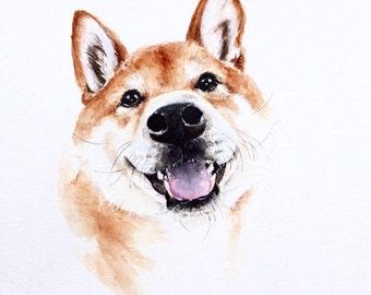 "8""x10"" Watercolor custom pet portrait, original watercolor painting dog cat animal pet lover painting handmade wall art gift"