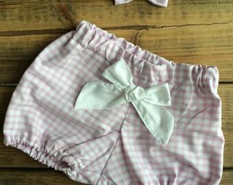 PROMO bloomer + barrette old gingham pink