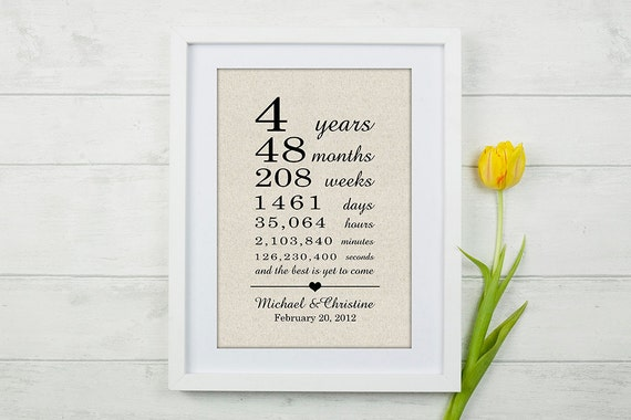 4 Year Wedding Anniversary Gifts For Him: Anniversary Gift 4 Year Anniversary Gift By AveryRhysDesigns