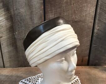 Vintage ladies hat, Sally victor, New York, off white, turban, head covering, brown, women , head piece