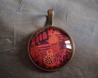 Pendant with print and glass cabochons-red square