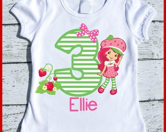Custom Personalized Strawberry Shortcake Birthday tee shirt