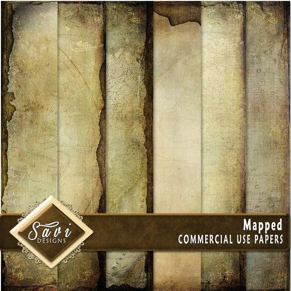 CU Commercial Use Background Papers set of 6 for Digital Scrapbooking or Craft projects MAPPED Papers, Designer Stock Papers