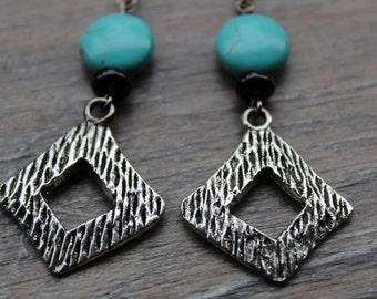 Turquoise, antique silver drop bead earrings