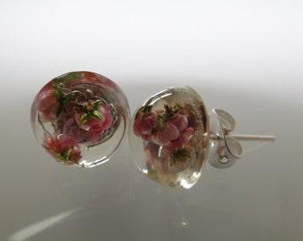 Handmade mini-studs with real Heather flowers