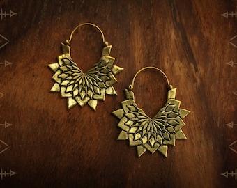 Brass mandala, tribal, gypsy earring