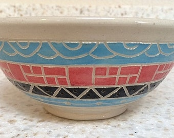 Handmade pottery bowl with Southwest inspired designs, hand carved ceramic bowl in turquoise, red, black, gray