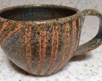 Handmade stoneware ceramic mug, hand carved rustic pottery mug, handmade coffee mug