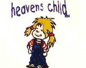 heavens child logo tshirt sweet girl in pigtails