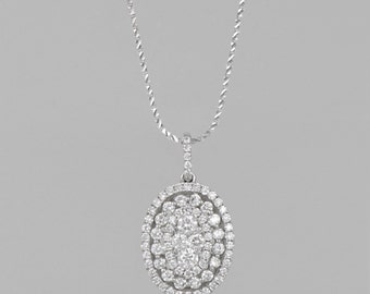 52 diamonds 1.5 14 K gold necklace 4 CT diamond in the center of 0.80 CT