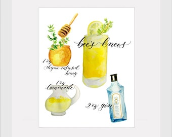 Happy Hour Art Prints - Bee's Knees