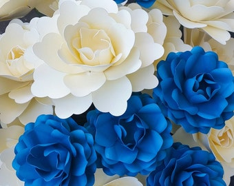 Dozen Paper Flowers-Cardstock Roses and Lotus Flowers on stems