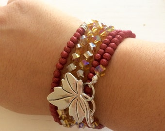 Multi row bracelet red and amber